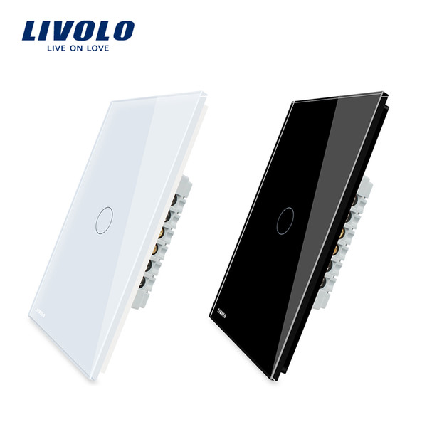 Livolo Manufacturer, AU/US standard Touch Screen Wall Light Switch, 1Gang 1 Way Universal Touch Switch 2 Colors 10pcs Wholesale Price C501-Z