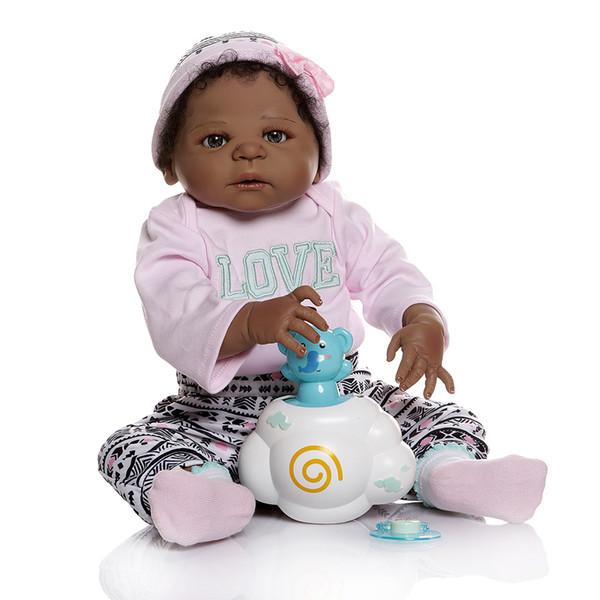 56см афро-американская возродиться девочкой кукла в черной все теле мягких силиконовой Bebe куклы возродиться Ванна игрушка анатомический правильно