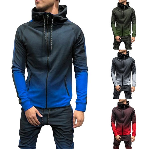 Mens Zip Up Hoodies Jacket Sweatshirt Casual Gym Sport Hooded Coats Winter Tops