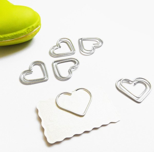200pcs 26*22MM Paper Clips bookmark in Blister cute Heart Shaped Card Office supply silver tone cheap wholesale