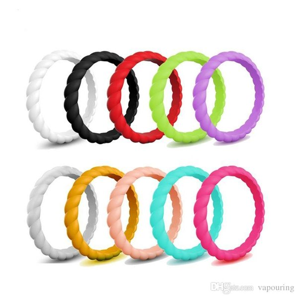 El más nuevo Colorido Twist Shape Finger Silicone Hoop Silicon Rubber Band Ring Mech Protection Vape Mod Vape Vaporizer RDA Tanks Decorate
