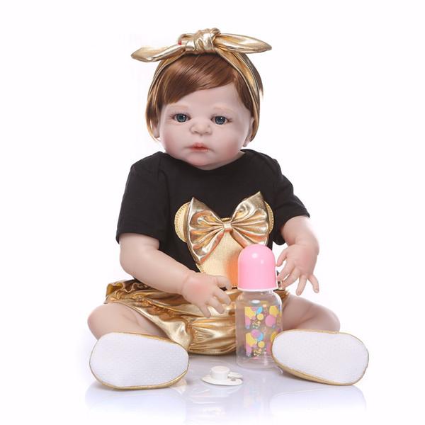 Bebe Reborn 2018 New design Doll Full Silicone Body Lifelike Reborn Doll Handmade Baby Toy hot sale Xmas Gifts