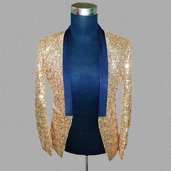 gold sequins blazer men suits designs jacket mens stage costumes singers dance star style dress punk rock masculino homme terno 7555