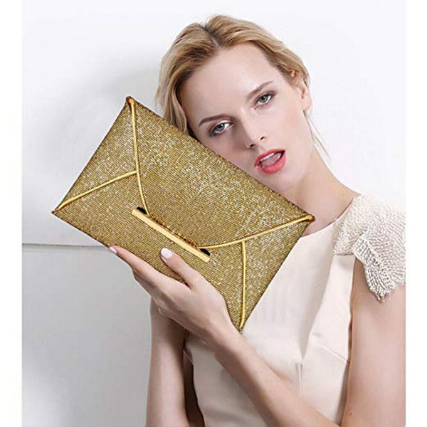 Women Evening Bag Pouch Sequins Envelope Clutch Black Handbag Sparkling Party Bag Solid Wedding Day Clutches Gold Purses