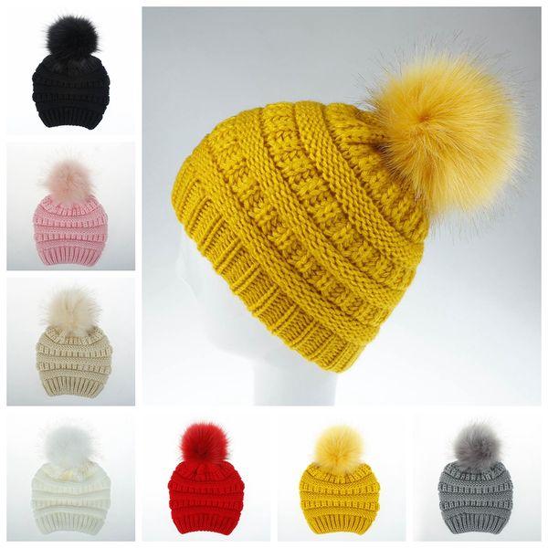 Kış Çocuklar Örme Şapka Kız Bebek Sıcak Pom Pom büyük Kürk topu Yün Şapka Bayanlar Kafatası Beanie düz Tığ Kayak Açık LJJA3088 Caps