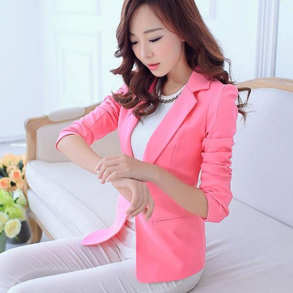 Women Blazers And Jackets Suit Spring Autumn Single Button Blaser Female white/black/pink/blue Ladies Blazer Femme
