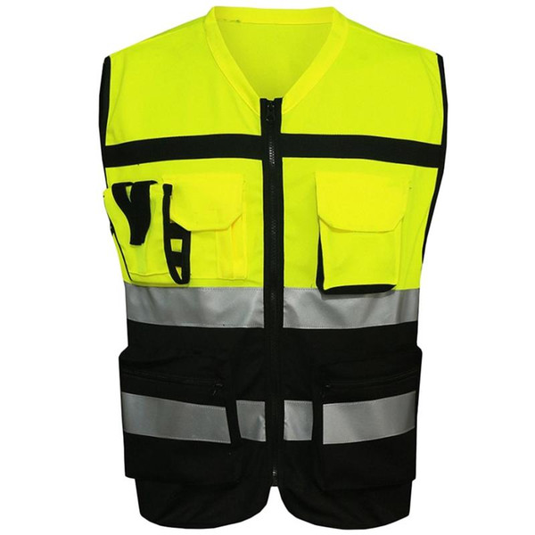 best selling New 7 Pockets Class 2 High Visibility Zipper Front Safet Yellow Vest With Reflective Strips