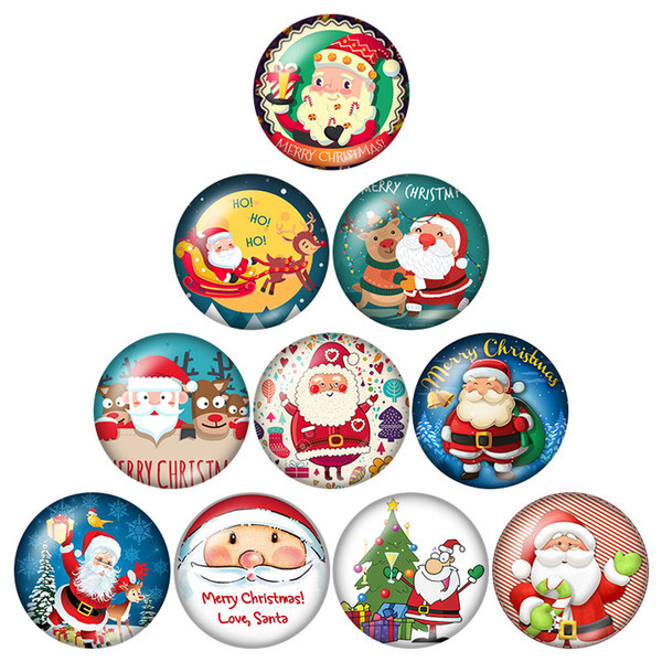 New arrival Fashion Beauty Christmas Santa Claus 20pcs 16mm20mm25mm Round photo glass cabochon demo flat back Making findings