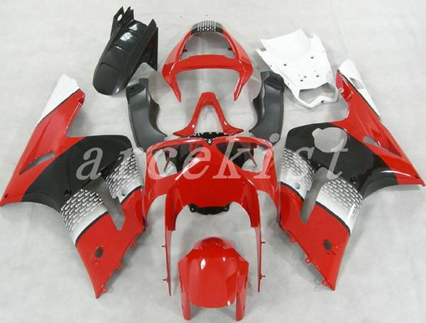 Neues ABS Motorrad Verkleidungsset passend für 03 04 ZX 6R 636 2003 2004 Kawasaki Ninja ZX6R ZX636 Verkleidungen Set rot schwarz