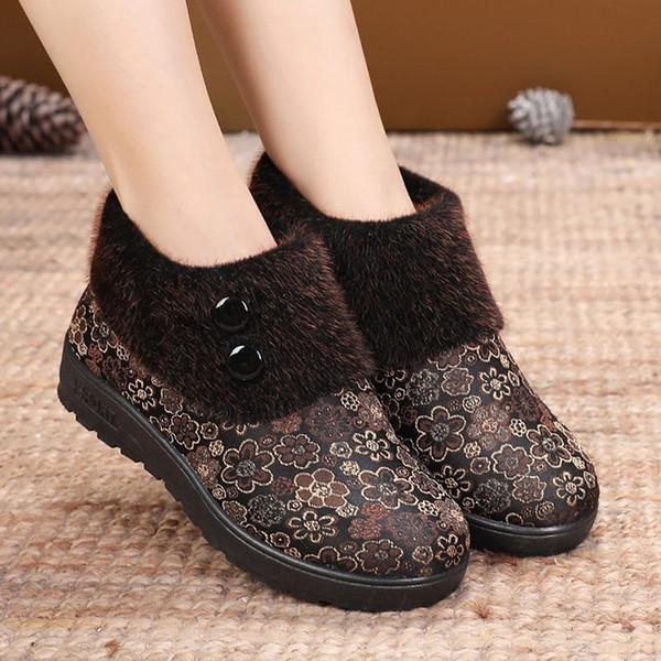 Shoes Women 2019 Autumn Winter Boots Women Casual Booties Ladies Girls Mama Warm Soft Floral Snow Short Boots Plush Fur Shoes