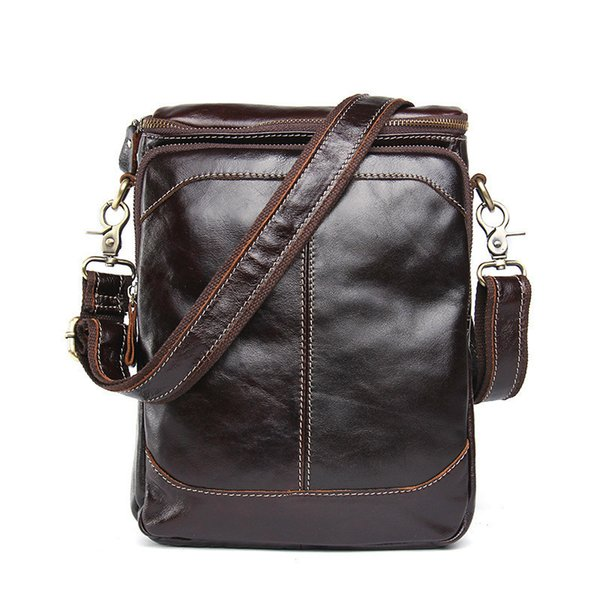 Man Single Shoulder Package Genuine Leather Leisure Time Oblique Satchel Head Layer Cowhide Male Bag Crossbody New Design free shipping