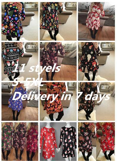 Large Sizes 2017 New Autumn Women Casual Long Sleeve Cute Christmas Tree Snowman Dresses Loose Plus Size Dress Vestidos 4XL 5X DHL NMNM