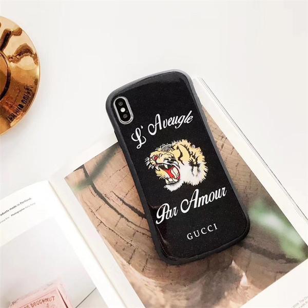Funda de teléfono de lujo de una pieza para iPhone 6S 7 8 P X XS Funda de teléfono de moda Snake and Tiger Designer