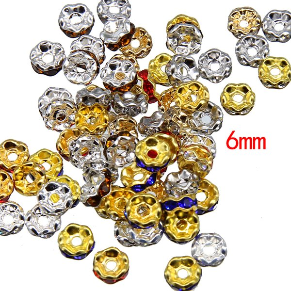 Handmade Accessories Lace Drill Ring Beads Color Bracelet Diamond Wave Wafer spacer Wheel ring 6mm diy Jewelry Accessories