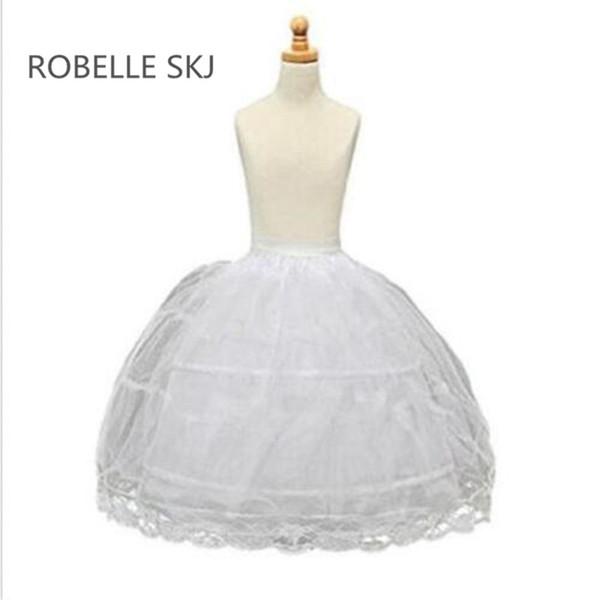 Pettiskirt 2-Hoops Flower Girl Petticoat Children Underskirt Slips Kid 2~14 Year