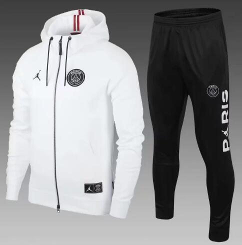 PSG branco Paris jaqueta de futebol com capuz 2018/19 psg treino jaqueta de futebol MBAPPE campeão Survêtement Jordam X psg hoodie