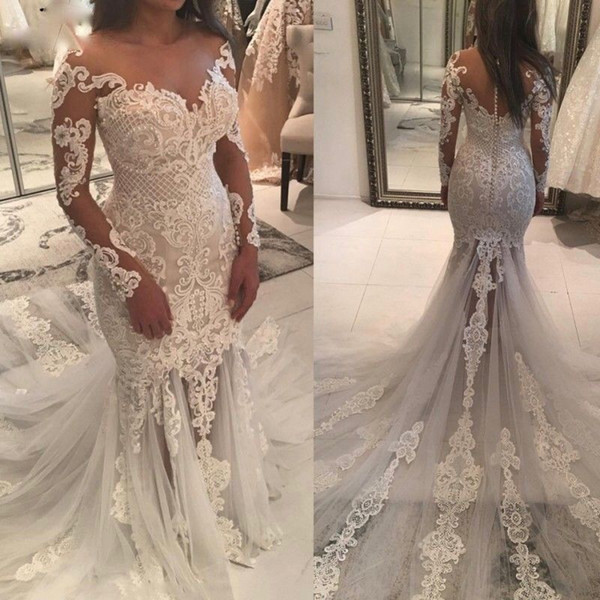 Sexy 2019 Shiny Beaded Mermaid Wedding Dresses with Long Sleeves Sheer Neckline Fit and Flare Unique Lace and Tulle Luxury Bridal Gowns
