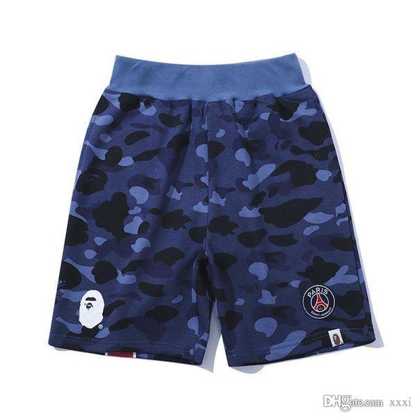 19SS Verão Novo Algodão Puro Tamanho Grande Solto Calças de Cinco Cêntimos Camuflagem Azul Co-nome Juventude Moda Shorts