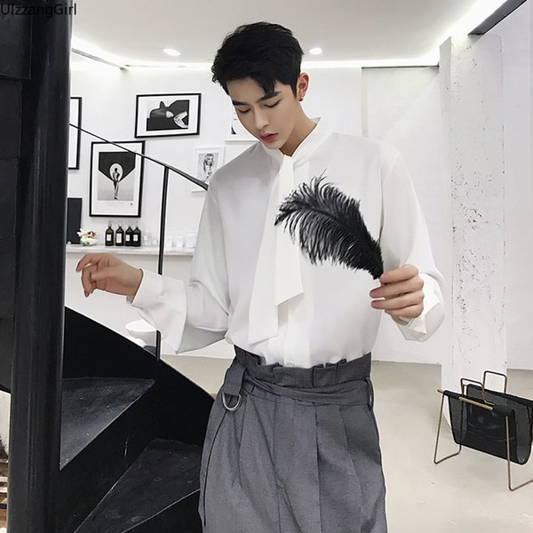 Neck Tie Ribbon Fashion Printing Solid Black White Long Sleeve Casual Blouse Men Japanese Streetwear Top Shirt Plus Size Korean