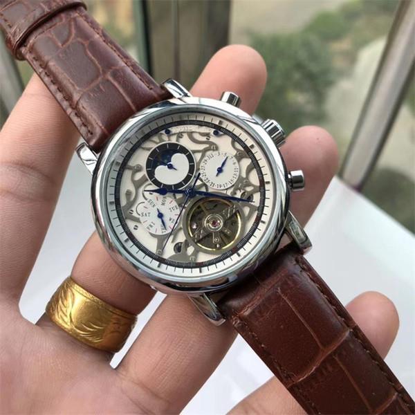 Fashion Business Pa tek Watches0 2019 Nuova vigilanza meccanica automatica multifunzione grande volano a 6 pin Orologio da uomo di alta qualità