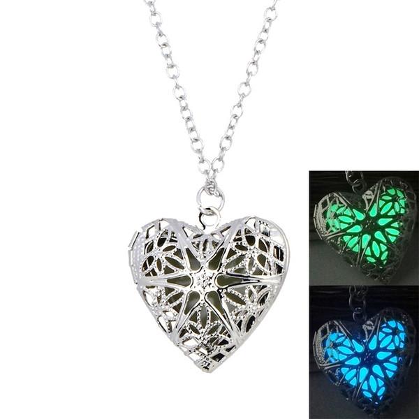 Nuevo en forma de corazón collares luminosos resplandor en la oscuridad abierta medallones flotantes colgante de plata cadenas para las mujeres regalo de la joyería de moda