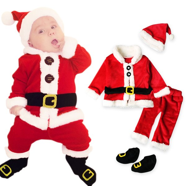 Christmas Costume Baby Clothes Sets Baby Santa Claus Long Sleeve Clothes+Hat+Socking 4Pcs Suits Toddler Baby Clothes Warm Fleece Y190515
