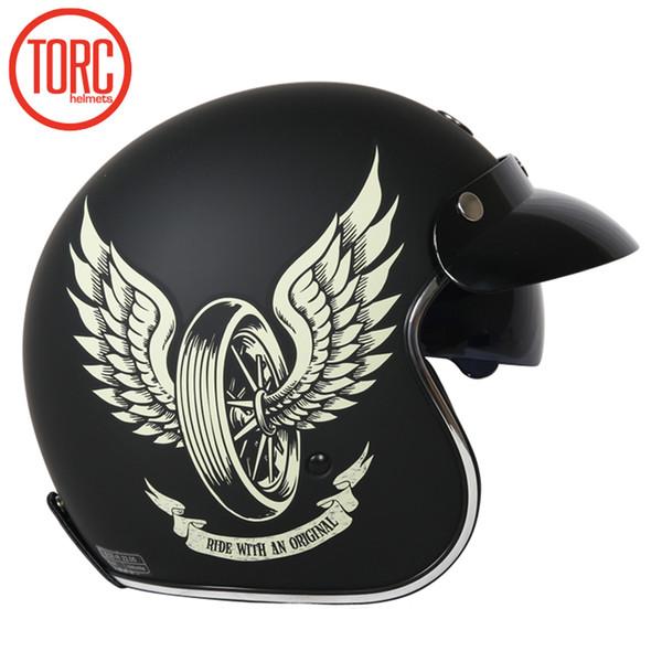 Vintage TORC T57 motorcycle helmet 3/4 open face helmet Cool skull moto casco Motocicleta Capacete with inner visor