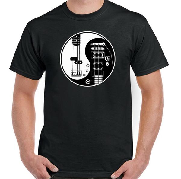 Yin Yang Gitarre Mens Funny Guitarist T-Shirt Acoustic Electric Bass Amp Strings anpassen T-Shirt