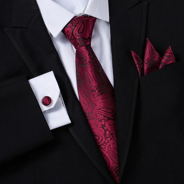 Ikepeibao Discount Krawatten Wide Wine Paisley Herren Krawatten Sets Hankie Manschettenknöpfe Floral Neckwear Cravats mit Geschenkbox