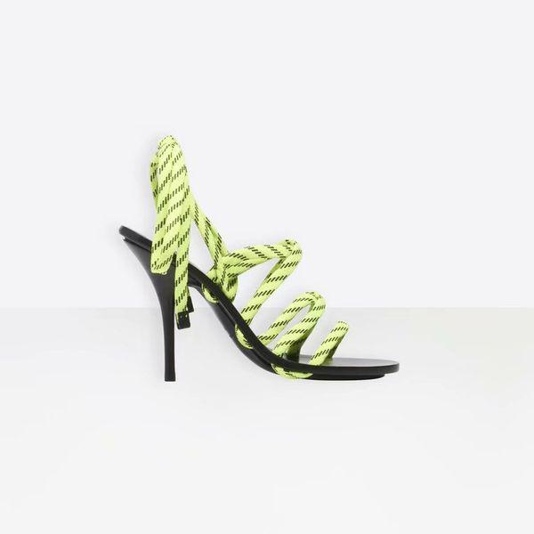 Primavera / verano 2019 tacones altos y delgados para mujeres Sandalias con tiras para mujeres Sandalias de moda