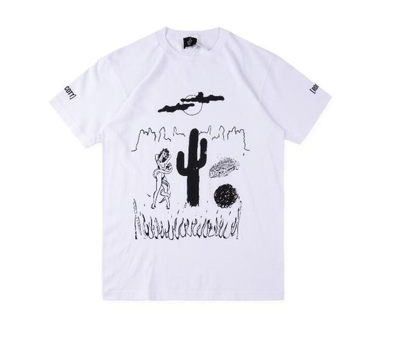 Travis Scott Extremadamente Raro Rodeo Tour T shirt Hombres Mujeres de Alta Calidad pintado a Mano Top de Algodón Camisetas Travis Scott ASTROWORLD camiseta