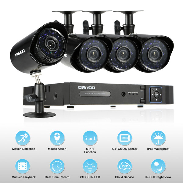 OWSOO XVR 4CH Channel 1080P Hybrid NVR AHD TVI CVI DVR 5-in-1+4*720P Outdoor/Indoor CCTV Camera for CCTV Security System