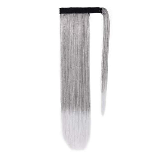 Custom gray Human Hair Pony tail hairpiece Clip On silver grey Brazilian Virgin Hair straight ombre Pony tail Hair Extensions
