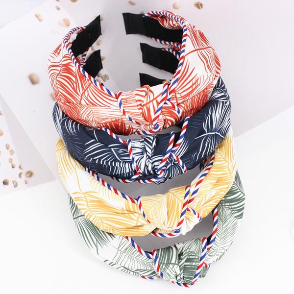 4pcs/lot Japanese Banana Leaf Girls Hair Bands Turban Headwrap Striped Leaves Floral Print Headbands Hair Accessories For Women