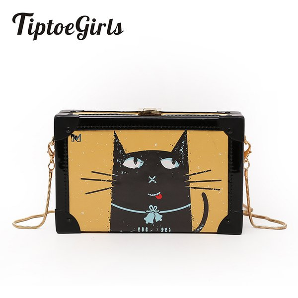 Retro Casual Small Square Package Fashion Cute Cat Printing Small Box Package Simple Wild Mini Shoulder Messenger Bag