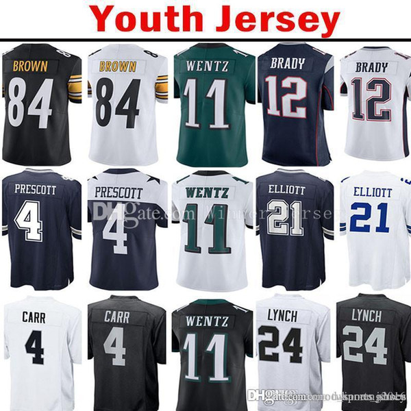 the best attitude 3cbbb c2053 2019 Youth Kid'S 11 Carson Wentz 12 Tom Brady 24 Marshawn Lynch Jersey 4  Dak Prescott 21 Ezekiel Elliott Derek Carr Antonio Brown Jerseys From ...