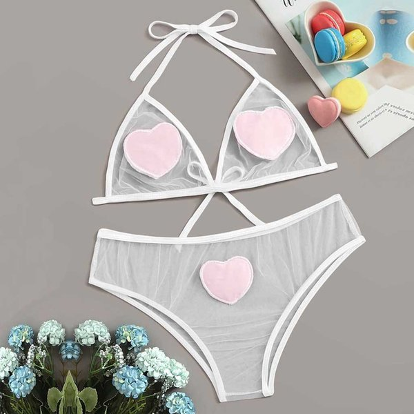 Sexy Lingerie Porno Sex Erotic Bodydoll Heart Pattern Sheer Chemise Body doll Cute Bow Bandage Set Intimo Hot Girl Slip D3