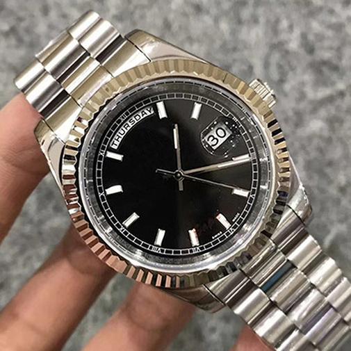 Luxe montre calendrier noir en acier inoxydable mécanique de mouvement automatique de sports de mode de remontage automatique de l'horloge montre de marque