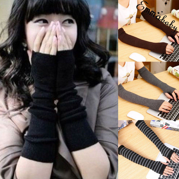 2019 Women Gloves Cute Protection Arm Warmer Long Fingerless Stretchy Striped Gloves Sleeves Mittens Casual Ladies Winter Warm