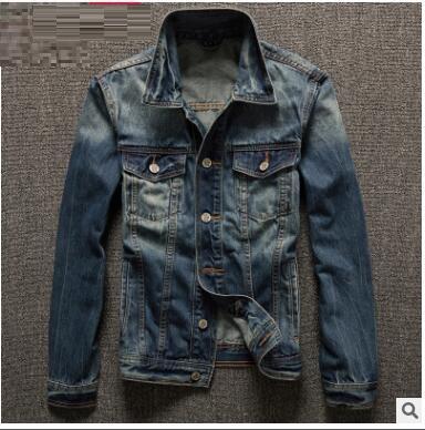 2018 Spring Autumn Mens Jackets New Brand Slim Fit Vintage Denim Patch Designs Jeans Jacket Men Nostalgic blue Coats Plus Size