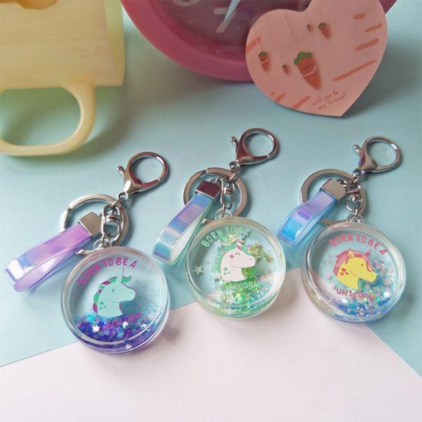 Rainbow PVC Animal Unicornio llavero para hombres mujeres bolso del ornamento del llavero del teléfono Porte Clef llavero bolsa de decoración