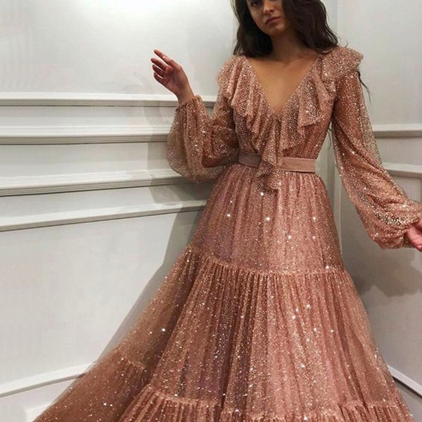 2019 Sexy Royal Pink long sleeves evening dresses shining sequins a-line formal dress women elegant party gown robe de soiree