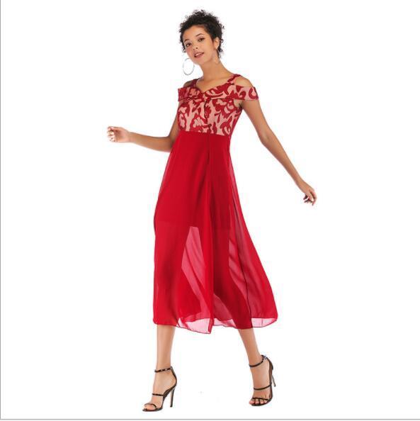 2019 robes d'été pour femmes concepteur de vacances robes slash cou dames maxi d'impression jupes robes de soirée de mode 3 couleurs S-L en gros