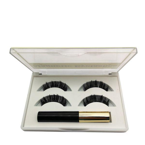 Manyetik Kirpikler Sıvı Eyeliner Seti Manyetik Doğal Uzun Su Geçirmez Yanlış Kirpik Uzatma Göz Makyaj Araçları RRA1068