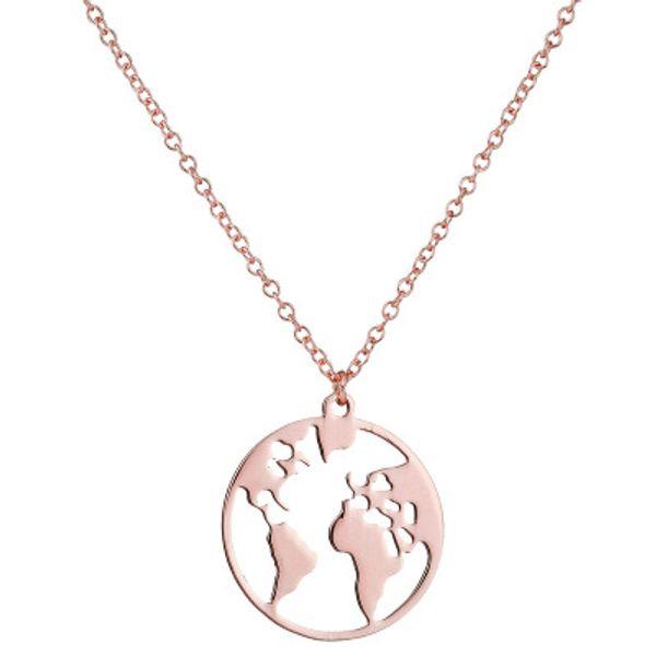 Vintage Origami World Map Necklace Women Geometric Round Necklace Choker Jewelry