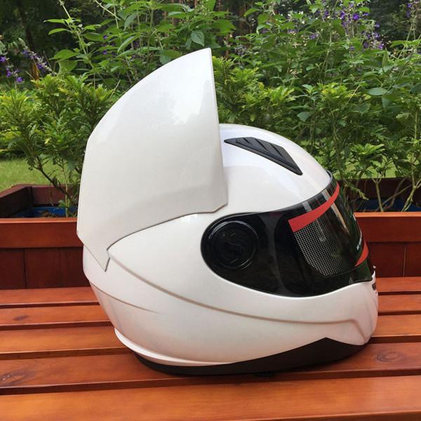 MALUSHEN Motorrad-Sturzhelm Moto-Cross-Ausrüstung mit Schutzbrillen Cat Ohr Helm Personality Full Face Motor schützen