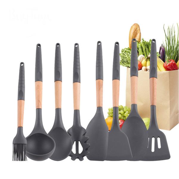 Utensili da cucina in silicone con supporto antiaderente Utensili da cucina Premium con 9 pezzi con manico in silicone Utensili da cucina