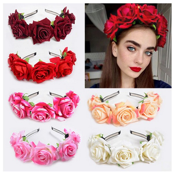 Belle fleur bande de cheveux Parti lunette de velours Rose Fleur Anneau Cerceau fleur cheveux Femmes Fille Stretch mariage Bandeaux 2019