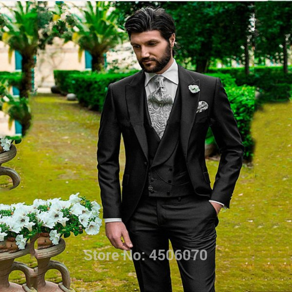 Italian Black Men Suits Slim Fit Wedding Tuxedos Groom Wear Peaked Lapel Groomsman Suits Costume Homme 3Pcs Jacket Pants Vest