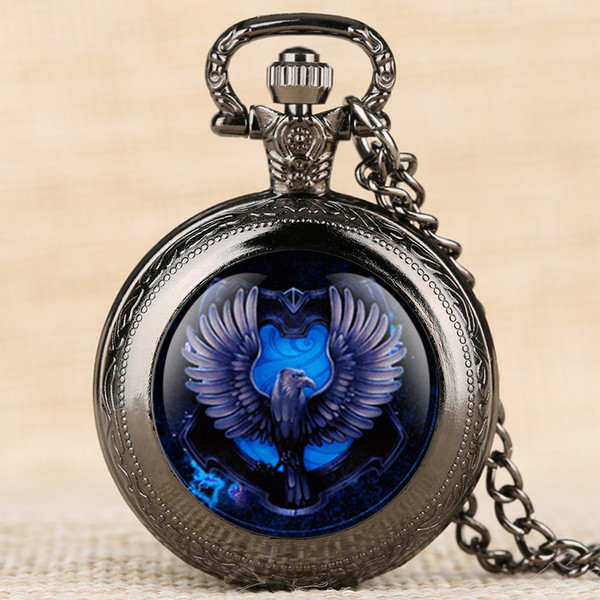 Quartz Pocket Watch Bule Eagle Pattern Pocket Watches Creative Decorations Retro Necklace Pendant Clock for Men Women